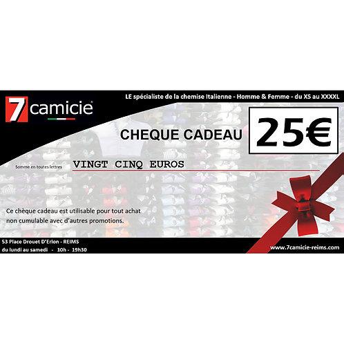 Chèque cadeau de 25 €