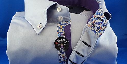 Chemise Homme satin de coton gorge fantaisie7 boutons (Réf: 9)