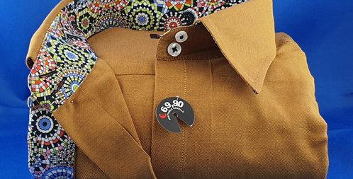 Chemise Femme piqué de coton oxford revers manches imprimé (Réf: Y20)