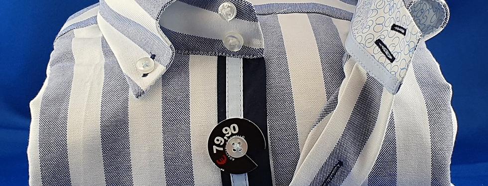 Chemise Homme piqué de coton grosses  Rayures Marine Blanc (Réf: N6)