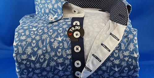 Chemise Homme imprimée popeline  gorge 7 boutons (Réf: O1)