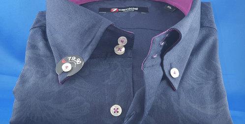 Chemise Homme Marine piqué de coton Imprimé Ton sur ton (Réf: 2C)