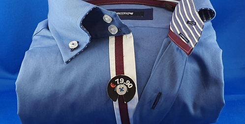 Chemise Homme popeline stretch gorge fantaisie boutonnage classique (Réf: B1)