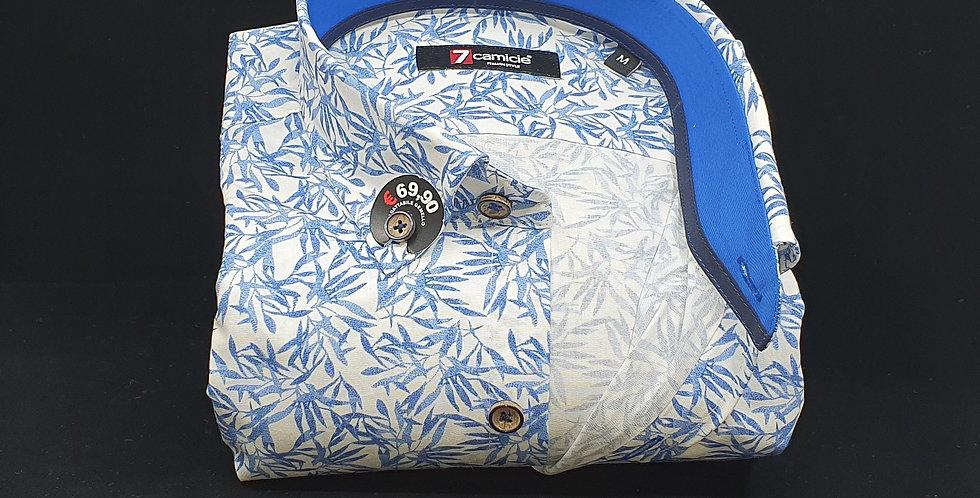 Chemise Homme Popeline 7 boutons fond blans imprimé bleu dur (Réf: O28)