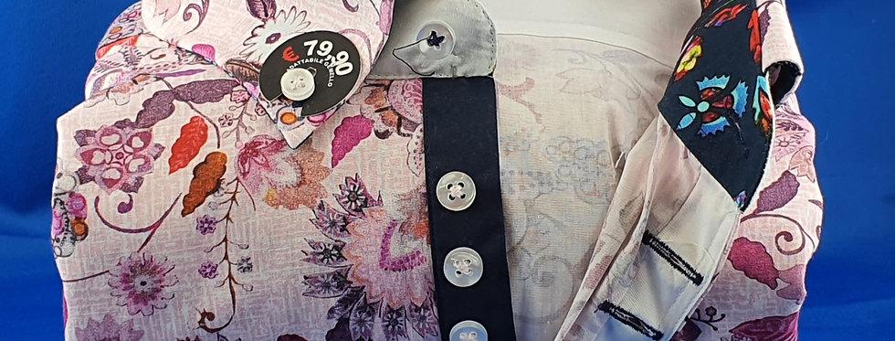Chemise Homme popeline imprimée Fleurs gorge 7 boutons (Réf: O15)