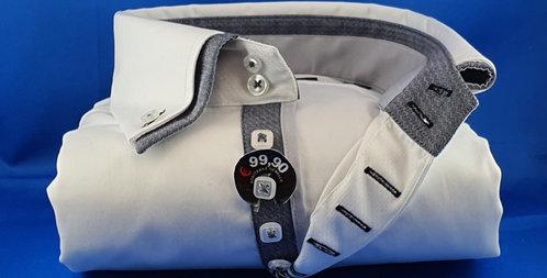 Chemise Homme satin de coton 7 boutons double col gris (Réf: 001)