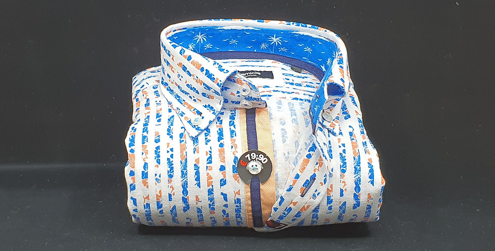 Chemise Homme Lin et coton fond Blanc imprimé Turquoise/Orange  (Réf: LC2)