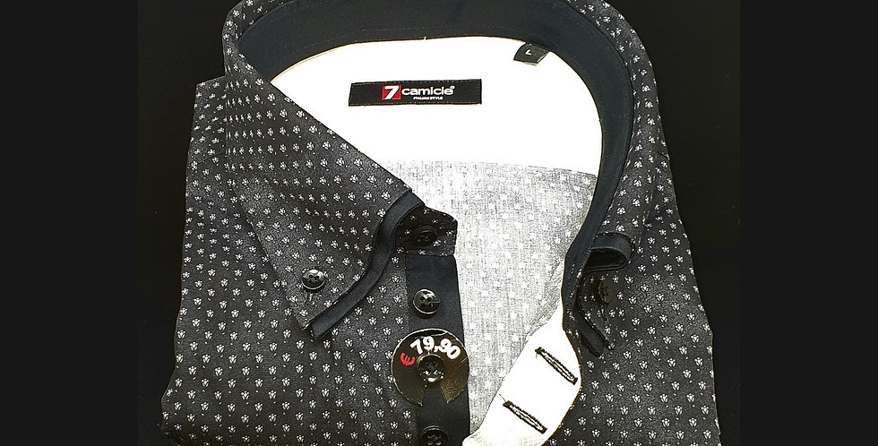 Chemise Homme Imprimée fond noir double col 7 boutons (Réf: O21)