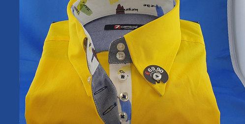 Chemise Femme Jaune Popeline Stretch gorge imprimée 7 boutons (Réf: Y24)