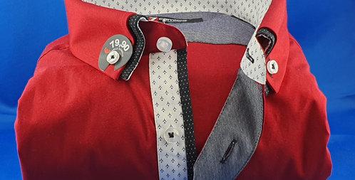 Chemise Homme popeline strech petit double col boutonnage classique (Réf: D1)