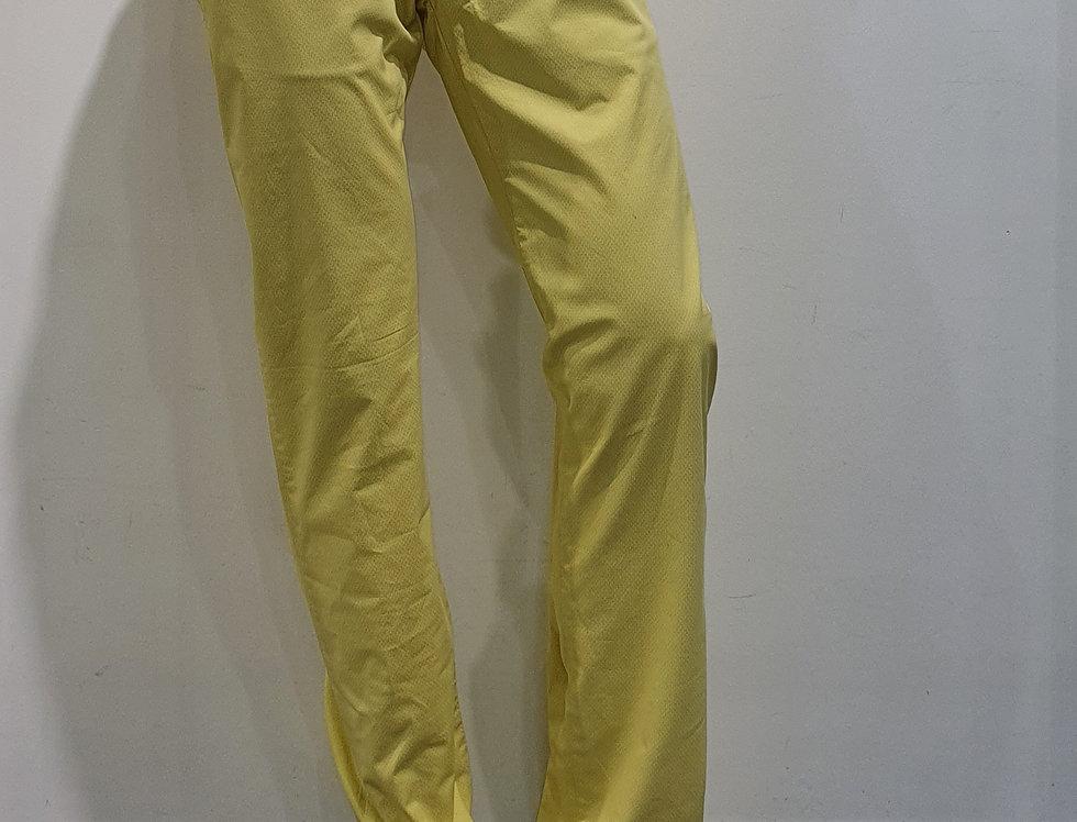 """Pantalon homme  """"CHINO"""" coton/élasthanne imprimé ton sur ton jaune (P3)"""
