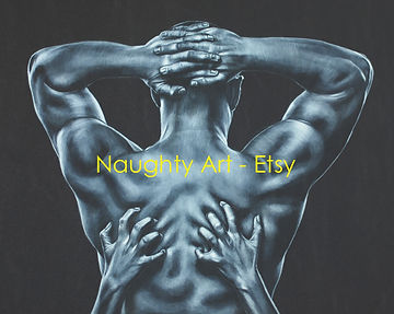 card print art sexy adult discretion hands digging in back sex monochrome Naughty Art