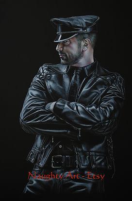 man dressed in leather hat pants trousers gay man bear belt model hunk gay Naughty Art