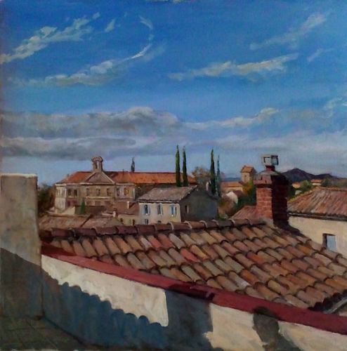 Roof tops of Uzes France, oil on canvas by William McCullough