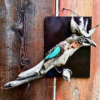 Blue Cockatiel wall sculpture SOLD