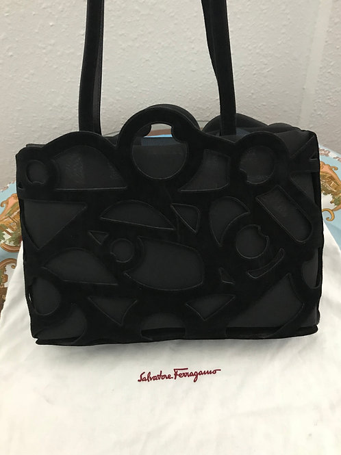 SALVATORE FERRAGAMO SUEDE & MESH SHOULDER BAG