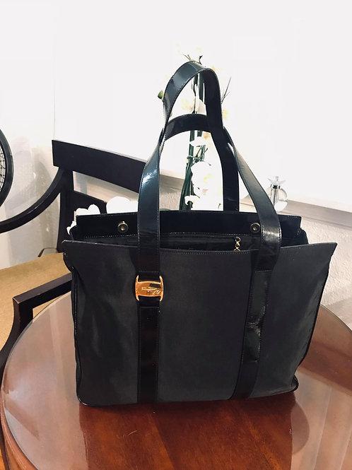 Salvatore Ferragamo Nylon & Patent Leather Tote Bag