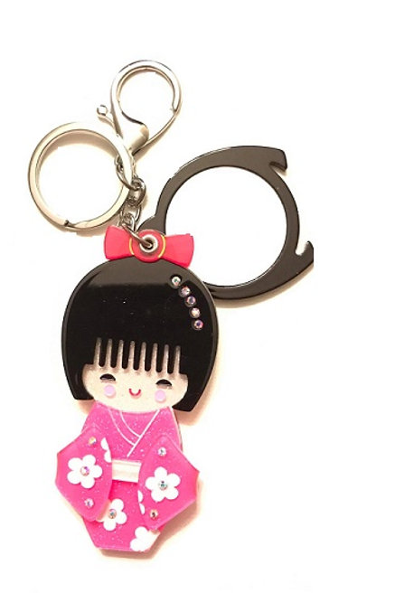 Japanese Kimono Doll Key Chain with Mirror