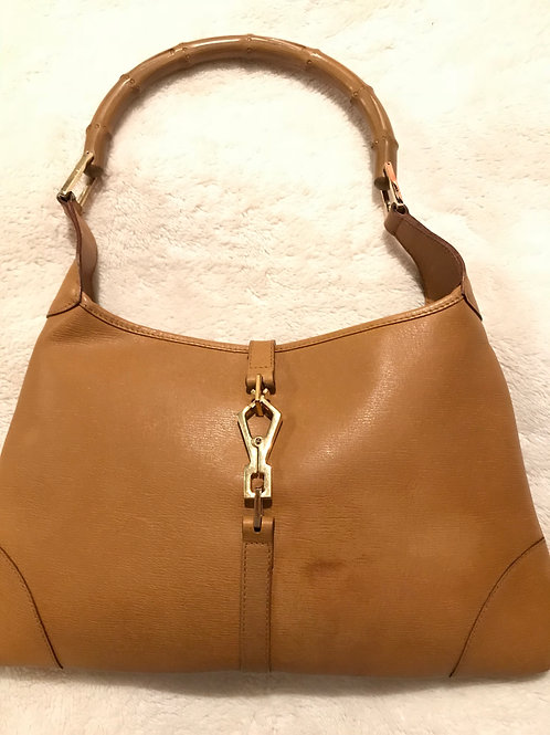 Gucci Jackie O Leather Hobo Bamboo Handle Shoulder Bag