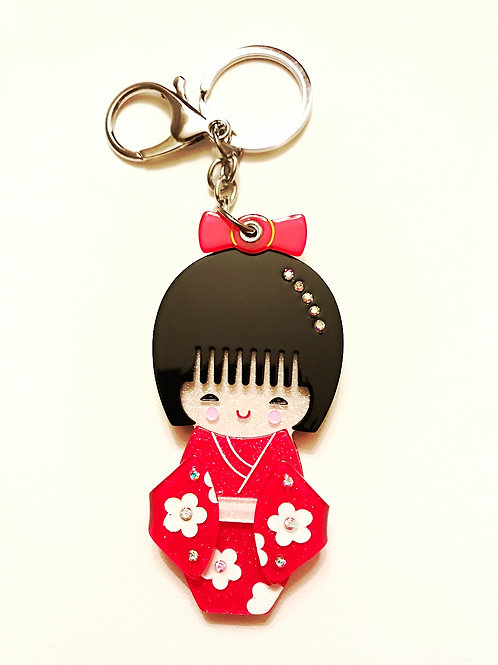 Japanese Red Kimono Doll Key Chain with Mirror