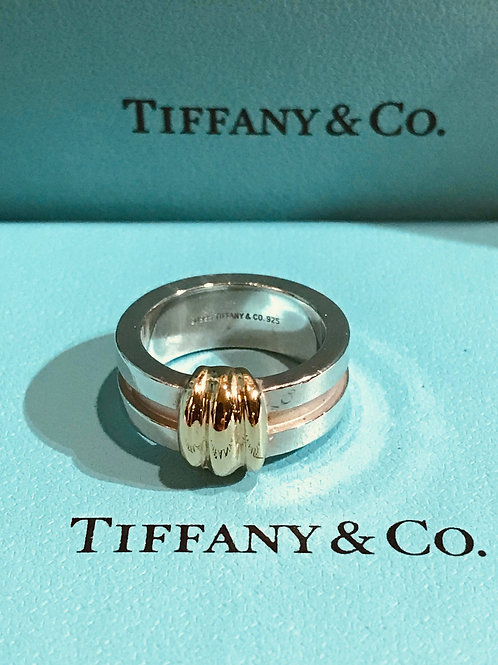 Tiffany & Co. Silver & 18K Gold Atlas Ring
