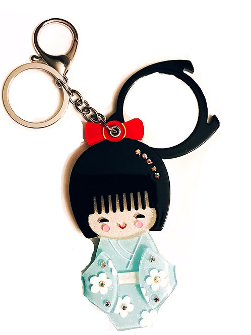 Japanese Kimono Doll Key Chain with Mirror