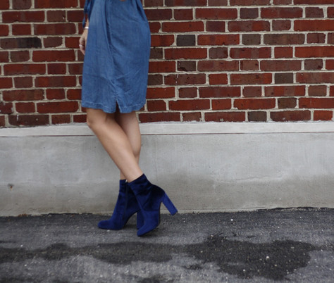 Steve Madden EDIT Blue Velvet Booties