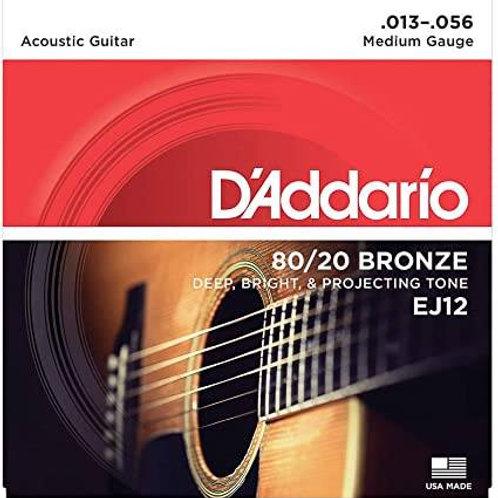D'ADDARIO 80/20 BRONZE ROUND WOUND CHITARRA ACUSTICA Medium 013/056 EJ12