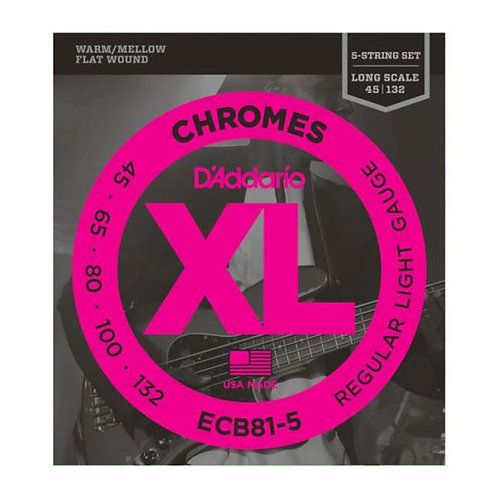 D'ADDARIO CHROMES STAINLESS FLAT WOUND 5 CORDE H331H