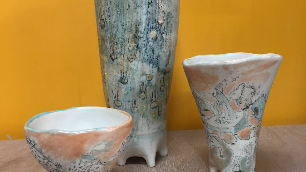 "3""-5"" hand drawn ceramic planting pots by lllll"