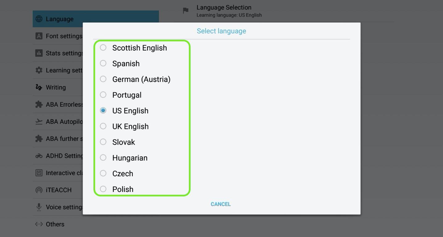 Step 2 - select learning language