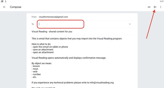 Step 8 - enter your email and click Send icon