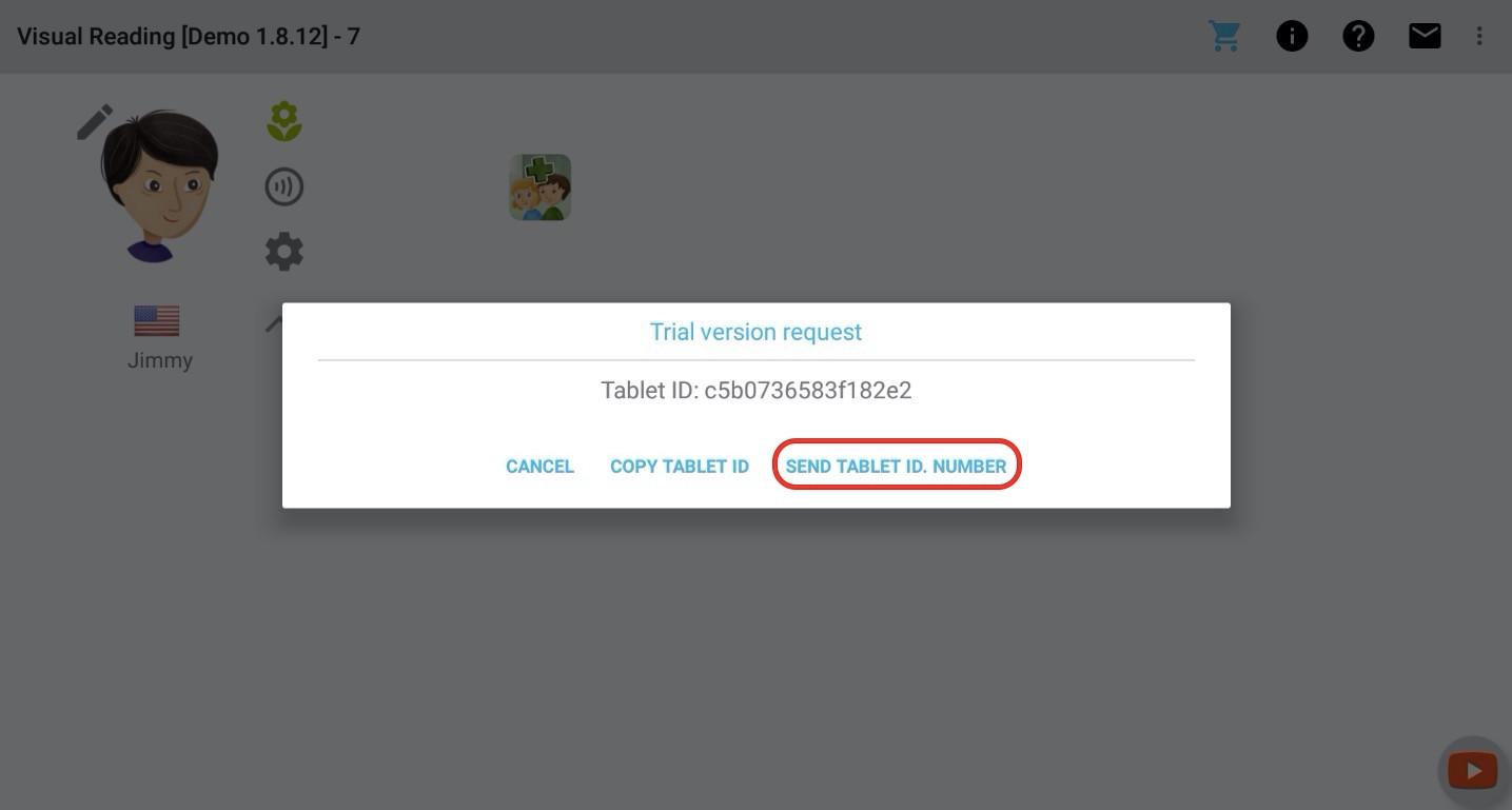 """Použijte """"Odeslat identifikační číslo tabletu"""" - otevře se emailový klient a dokončete odeslání"""