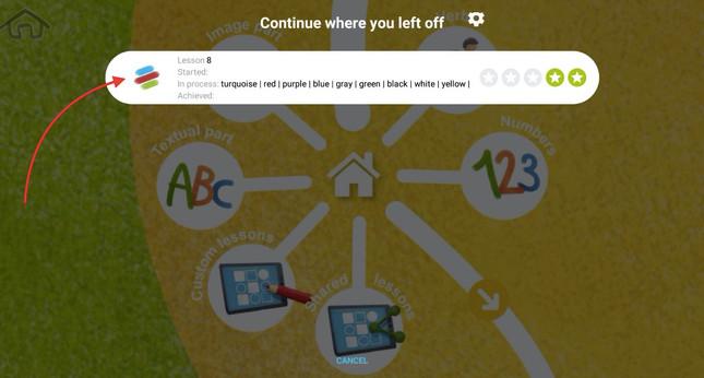 Spuštění lekci 2 - klikněte na ikonu lekce