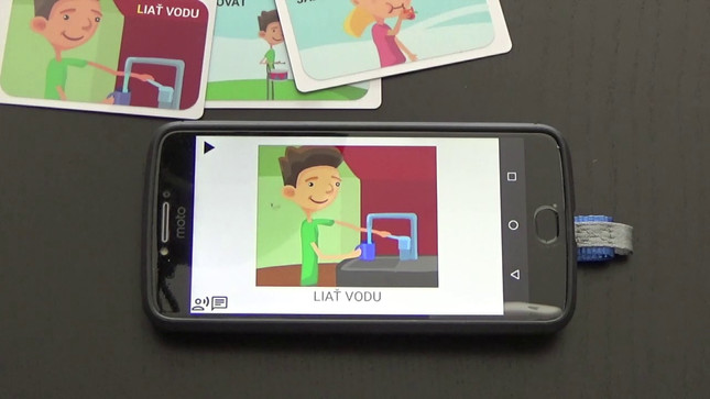 The video shows how to create and use the interactive talking card