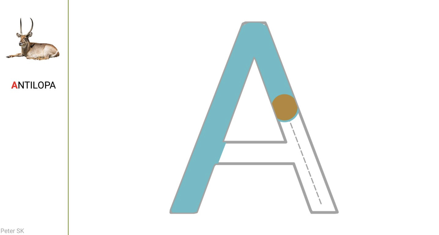 Krok 4 - zobrazí sa lekcia nácviku písania