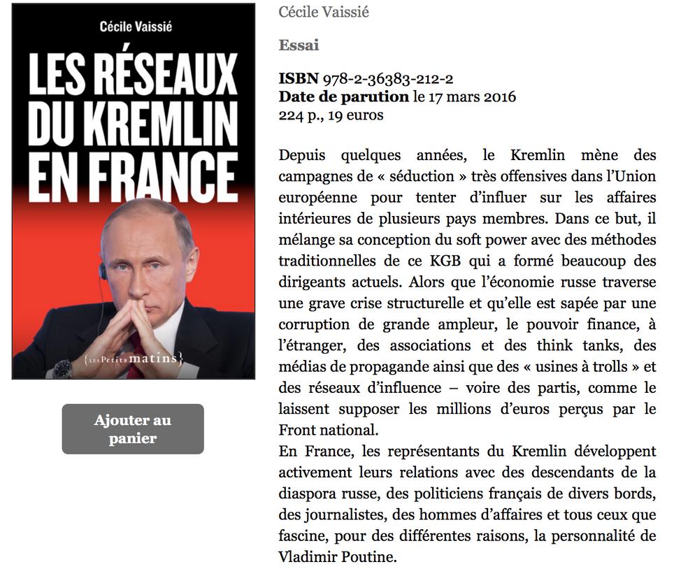 L'auteure et l'éditrice d'un livre sur les réseaux du Kremlin poursuivies en justice en France