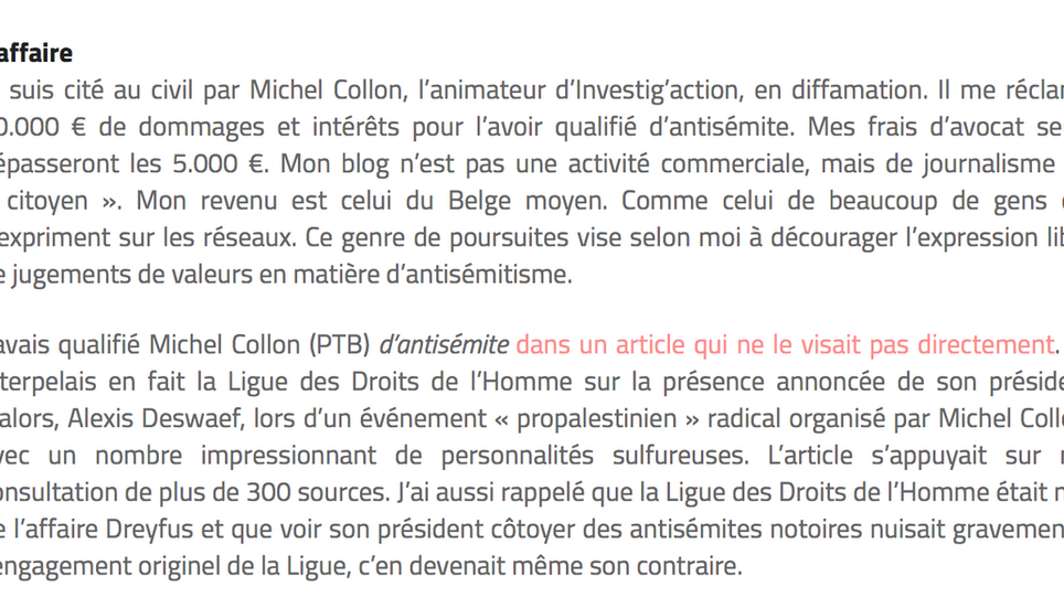 Michel Collon qualifié d'«antisémite» par Marcel Sel: Collon débouté