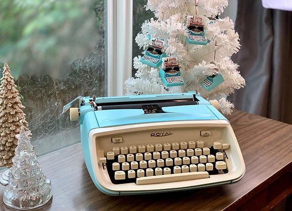Cursive 1968 Blue Royal Aristocrat Manual Typewriter & Case, Reconditioned!