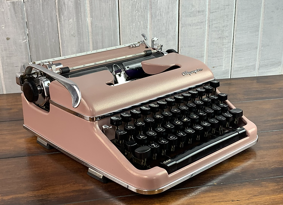 Cursive! Custom Painted Blush with gold pearl finish. Olympia SM3 Typewriter