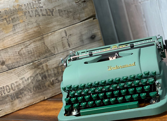1953 Underwood De Luxe Green Two Tone and Gold Manual Typewriter Restored