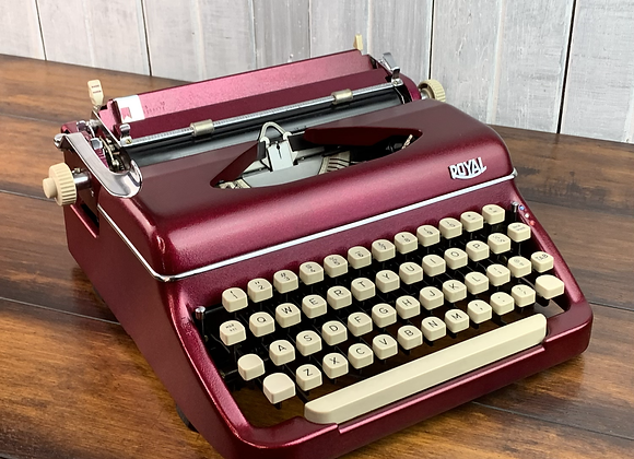 Royal Diana Manual Typewriter in Custom Magenta Candy Coat over Metallic!