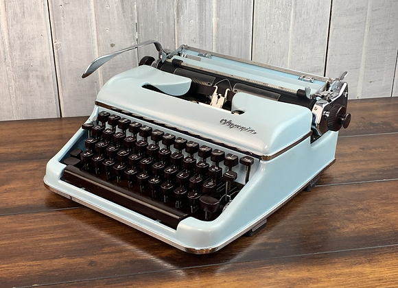 Custom Blue Pearl Olympia SM3 Manual Typewriter Reconditioned Perfect