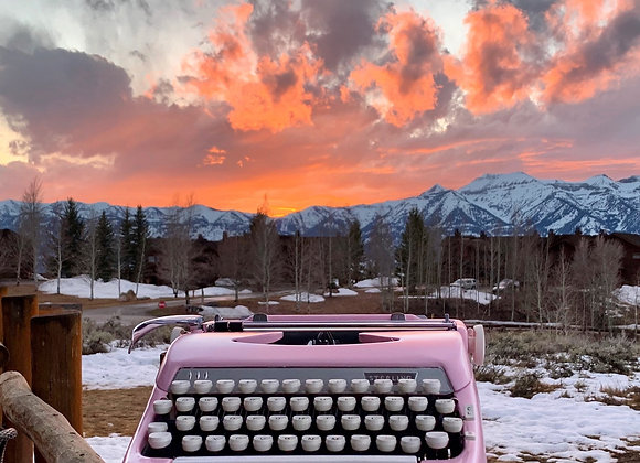 Custom Painted Pink 1956 Smith Corona Sterling Typewriter & Case Reconditioned