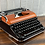 Thumbnail: Metallic Candy Orange & Black Olympia SM 4 Manual Typewriter Reconditioned