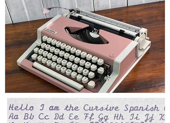 Cursive Spanish Typing Olympia Traveller custom pink Ultraportable Rare
