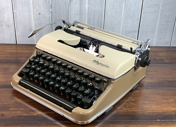 Custom Tan and Ivory Olympia SM3 Manual Typewriter Reconditioned Perfect