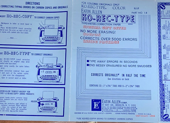 Vintage Ko-rect-type Typewriter Correction Sheets