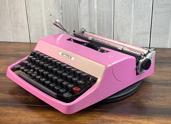Cursive! Custom Painted Pink and liquid gold light shift Lettera 32 Typewriter