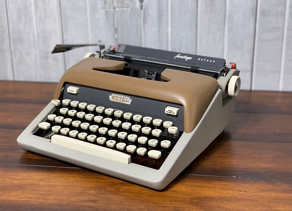 Reconditioned Gray and Tan 1962 Royal Heritage Deluxe Manual Portable Typewriter